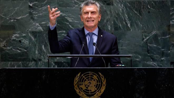Presidente argentino, Maurício Macri, durante a Assembleia Geral da ONU
