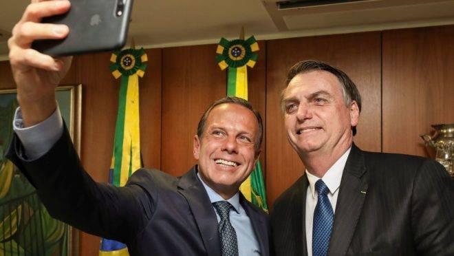 O governador João Doria e o presidente Jair Bolsonaro.