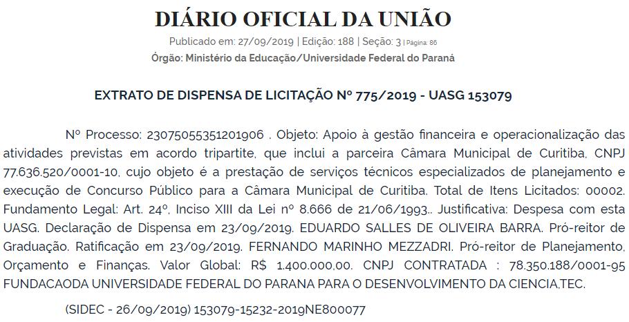 Reprodução do Diário Oficial da União de 27/09/2019
