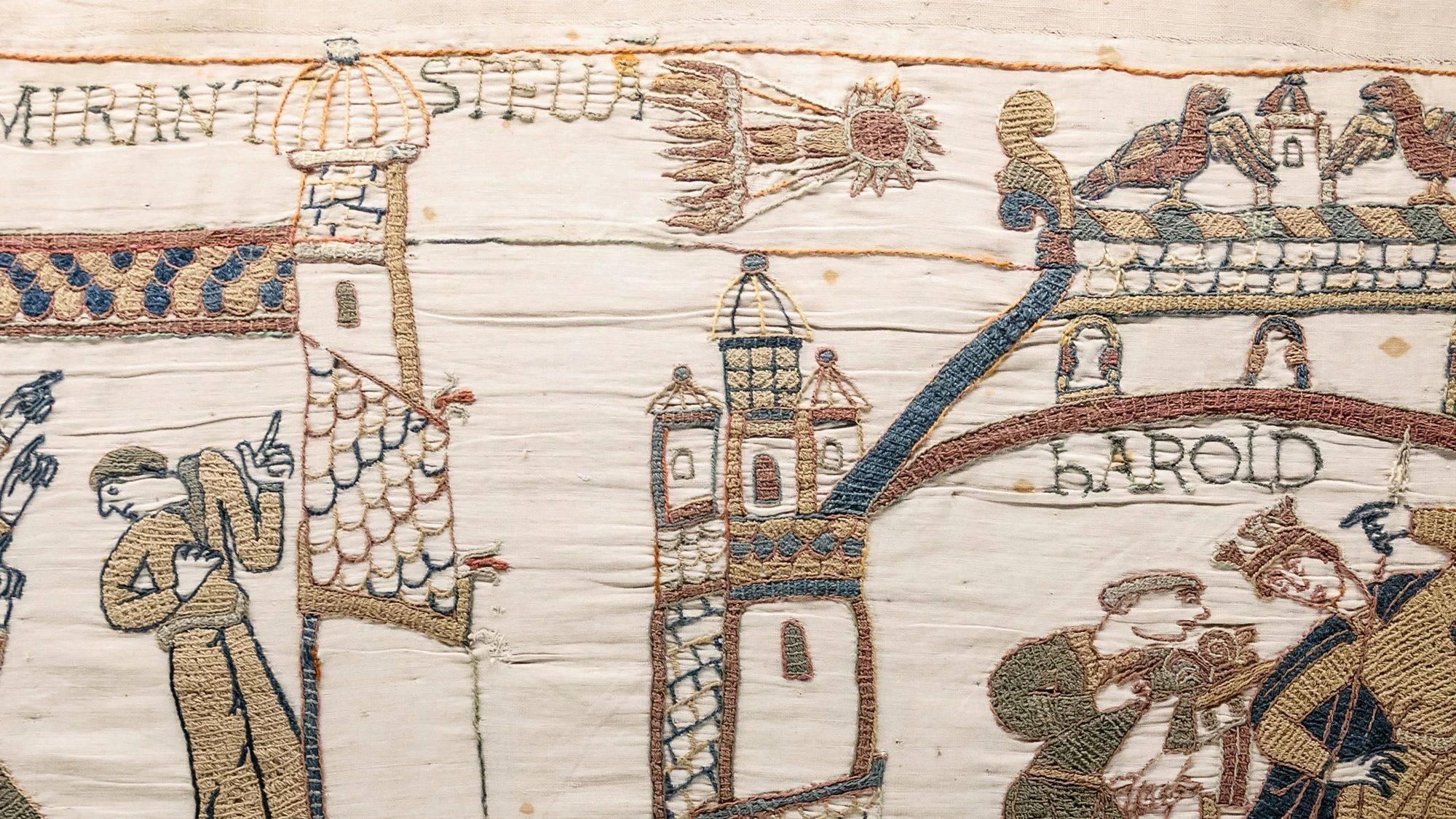 A Tapeçaria de Bayeux registra a passagem do cometa Halley em 1066, ano da Batalha de Hastings.