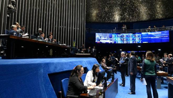 Plenário do Senado Federal durante sessão deliberativa sobre a reforma da Previdência.