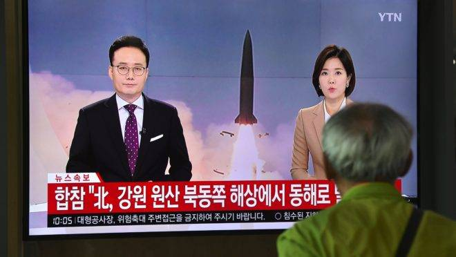 TV de Seul noticia lançamento de míssil da Coreia do Norte