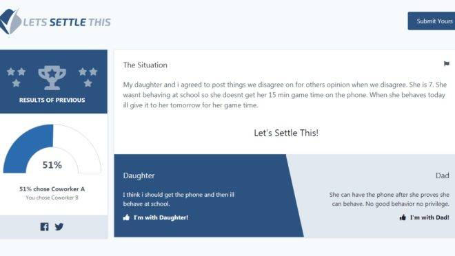 A questão aponta o conflito de um pai sobre relacionar ou não o uso de celular ao bom comportamento da filha