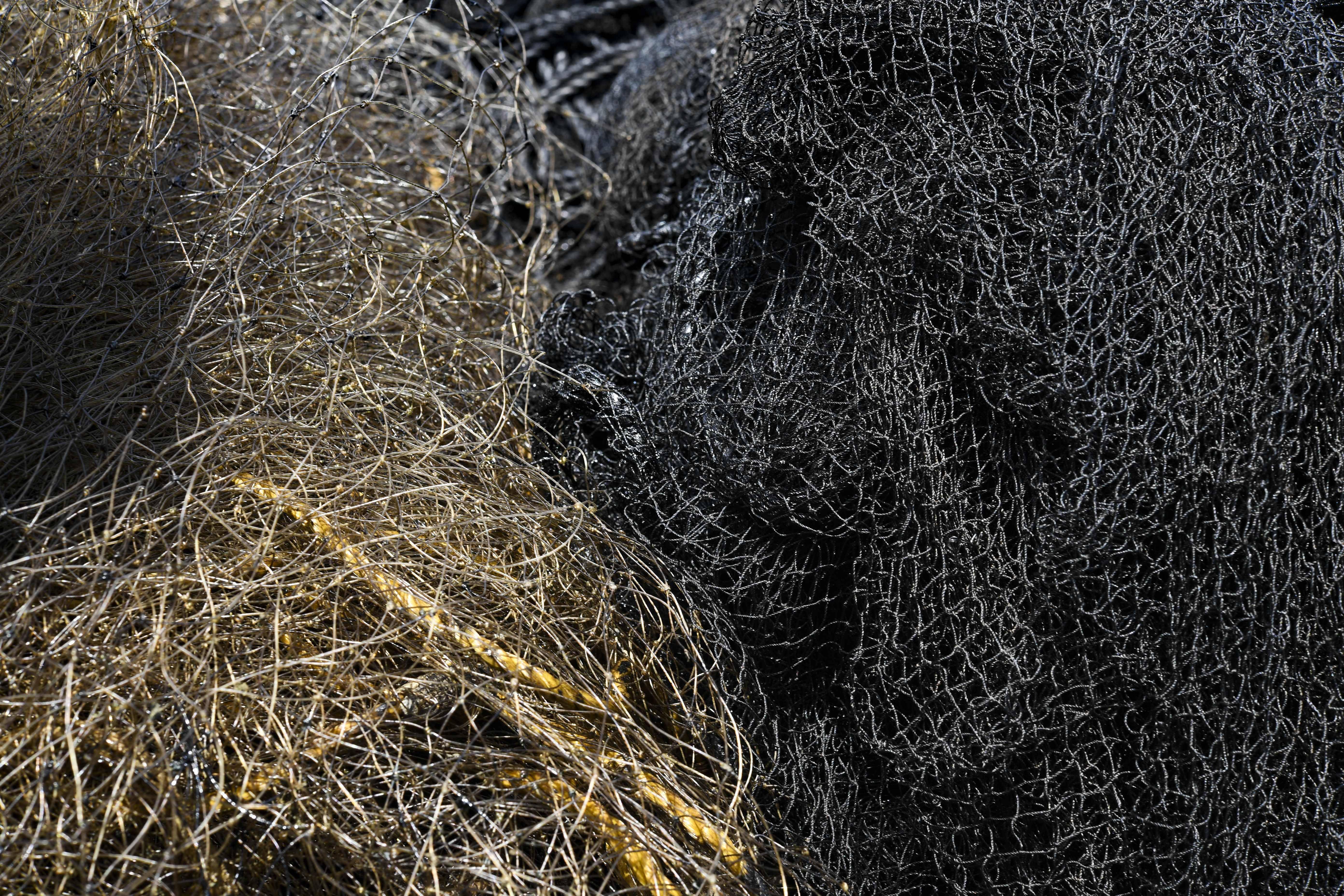 Rede contaminada com óleo | Foto: YURI CORTEZ/AFP