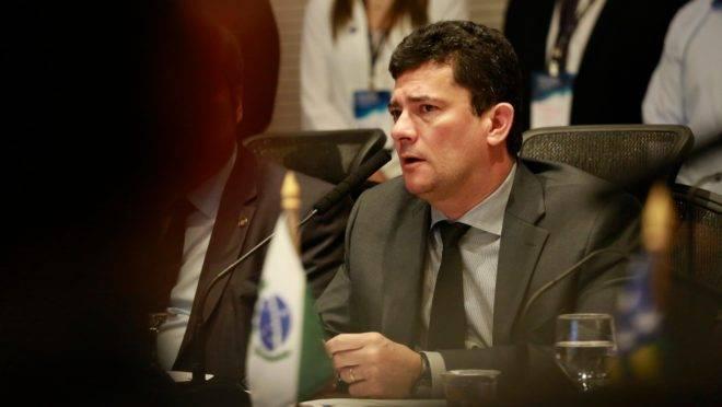O ministro Sergio Moro durante visita ao Paraná.