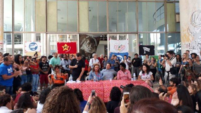 Fernando Haddad (PT), Benedita da Silva (PT), Jandira Feghalli (PC do B), Marcello Freixo (PSOL): a universidade deve ser um lugar de resistência ao governo.