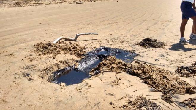 Manchas de óleo encontradas pela Administração Estadual do Meio Ambiente de Sergipe (Adema).