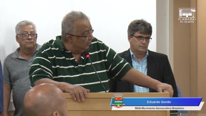 O vereador Eduardo Gordo em sessão da última terça-feira (1), minutos antes da agressão.