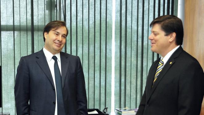 O presidente da Câmara, Rodrigo Maia, e o deputado Baleia Rossi, em 2016.