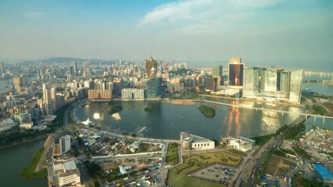 Vista aérea do centro de Macau, ex-colônia portuguesa na China