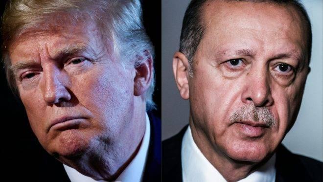 Presidente dos EUA, Donald Trump, e presidente da Turquia, Recep Tayyip Erdogan