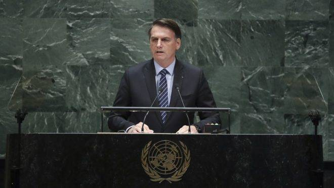 Bolsonaro em discurso na Assembleia Geral da ONU em 2019. Brasil concorre a vaga no Conselho de Direitos Humanos da organização.