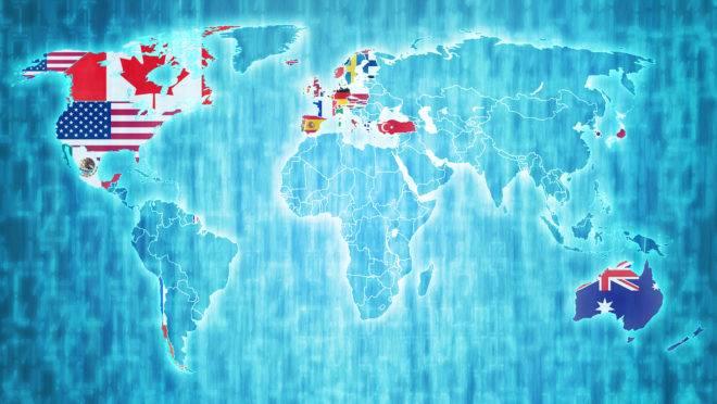 Mapa com os países da OCDE
