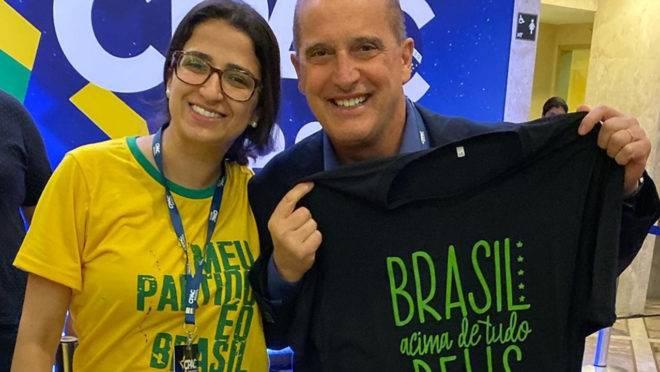 Ministro Onyx Lorenzoni passou na lojinha da marca camisetas Opressoras na CPAC Brasil, em São Paulo.