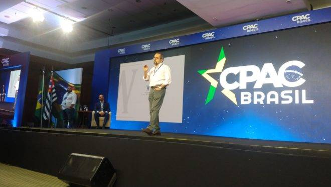 O ministro da Educação, Abraham Weintraub, fala na CPAC.