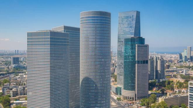 Vista do centro financeiro e comercial de Tel Aviv