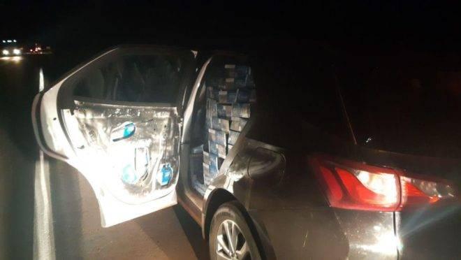 Chevrolet Equinox roubado de concessionária em 2018 já não estava na cor original e trasportave 22, 5 mil carteiras de cigarros contrabandeados.