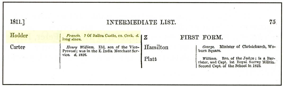 Registro de Francis Hoder no Eton College.