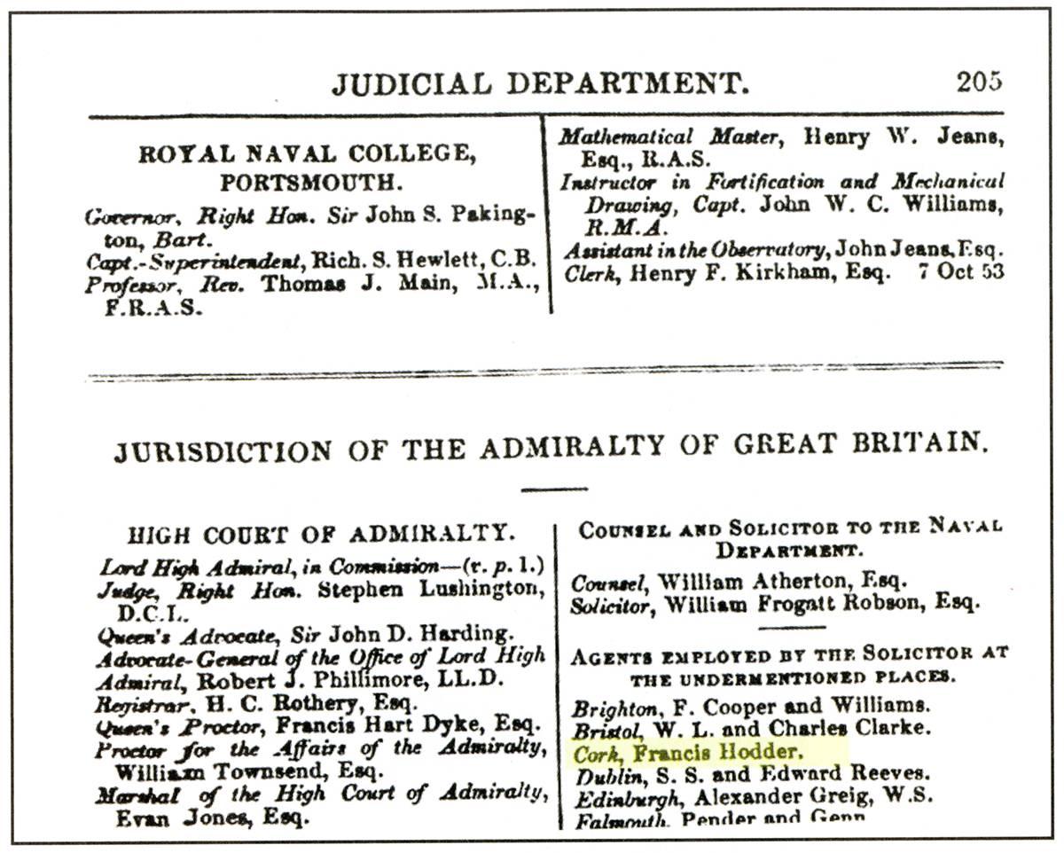 Registro de Hoder na Marinha britânica.