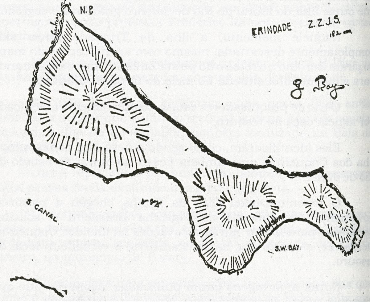 Mapa do Tesouro na Ilha do Tesouro encontrado na Índia e assinado por Zulmiro, Zarolho e José Sancho.
