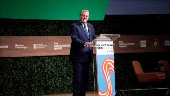 Al Gore discursa no C40 World Mayors Summit em Copenhague, Dinamarca, em 10 de outubro de 2019.
