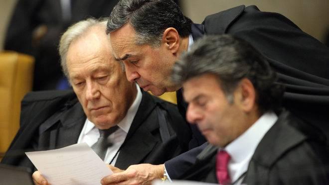 Os ministros do STF Ricardo Lewandowski, Luis Roberto Barosso e Luiz Fux.