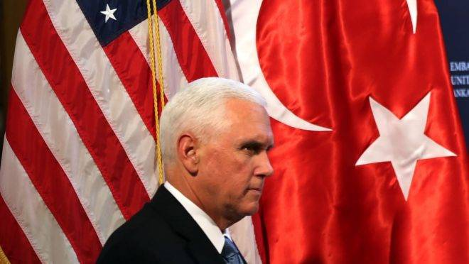 U.S. Vice President Mike Pence arrives to attebd a press conference at the U.S. Embassy in Ankara, Turkey, October 17, 2019. (Photo by Adem ALTAN / AFP)