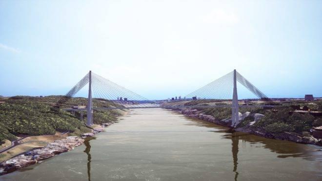 Projeção de como ficará a segunda ponte em Foz do Iguaçu