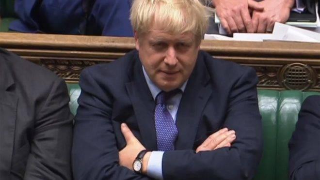 O primeiro-ministro britânico, Boris Johnson, em debate sobre o Brexit na Câmara dos Comuns, Londres, 22 de outubro de 2019