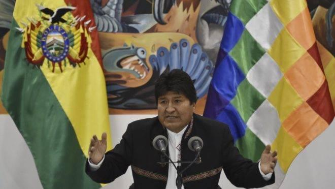 O presidente da Bolívia Evo Morales, reeleito para um quarto mandato, 23 de outubro de 2019