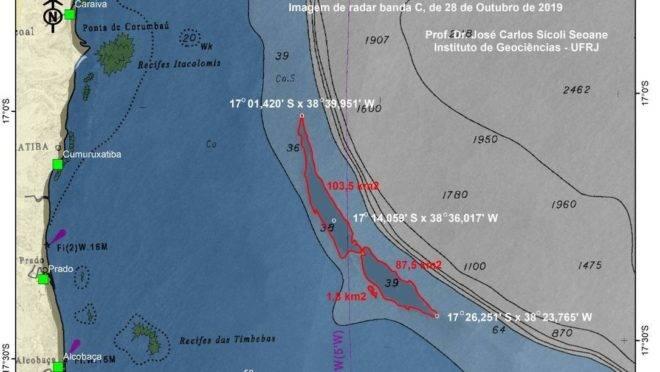 Mancha de óleo de 200 km ² foi localizada a 50 km da Bahia