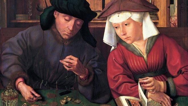 O cambista e a sua mulher (1514), de Quentin Matsys.