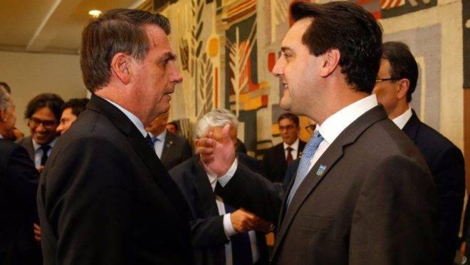 Presidente Jair Bolsonaro (PSL) e o  governador do Paraná, Ratinho Junior (PSD)