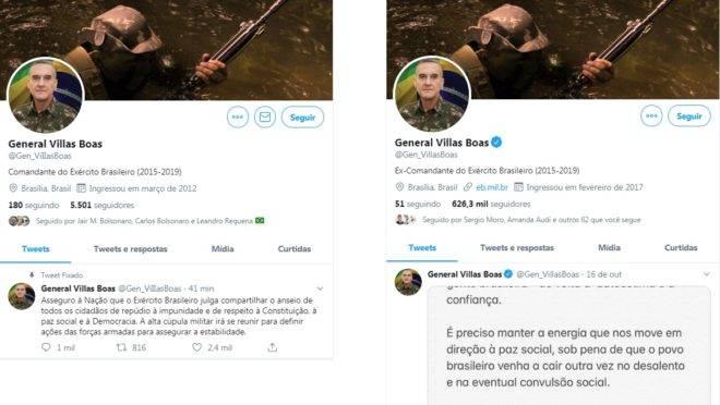 Comparação entre a conta falsa e a conta oficial do general Villas Bôas