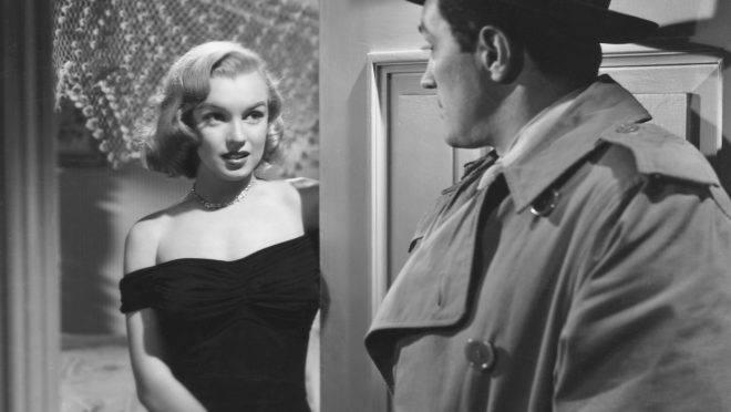 Marilyn Monroe durante o filme O Segredo das Joias (1950).