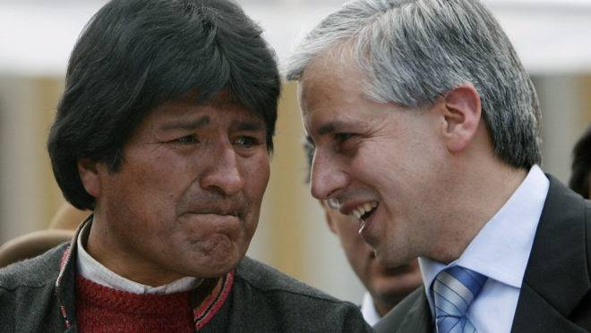 Ex-presidente boliviano Evo Morales e seu vice, Álvaro Garcia Linera