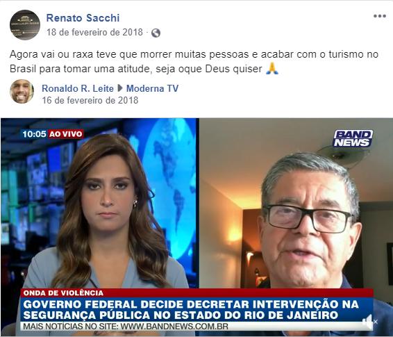 Vídeo de entrevista sobre a intervenção federal no Rio de Janeiro