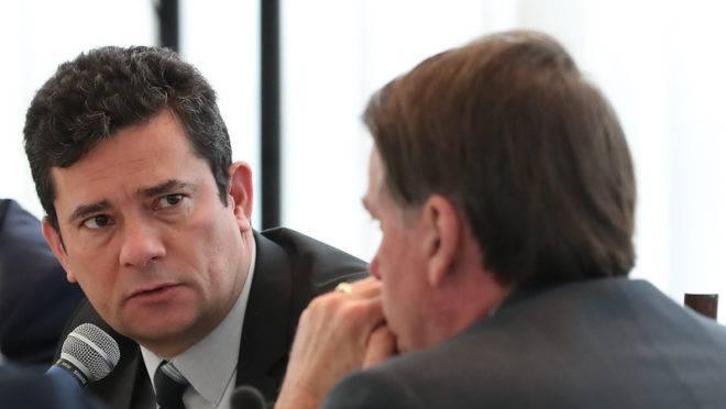 Ministro Sergio Moro e o presidente da República, Jair Bolsonaro