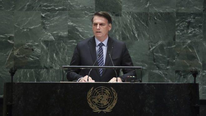Bolsonaro discursa na Assembleia-Geral da ONU de 2019: presidente disse não se preocupar com a dívida do país nas Nações Unidas.