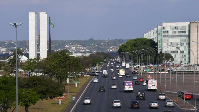 O Congresso Nacional e a Esplanada dos Ministérios, em Brasília