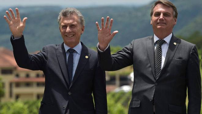 Presidente do Brasil, Jair Bolsonaro, e seu colega argentino Mauricio Macri