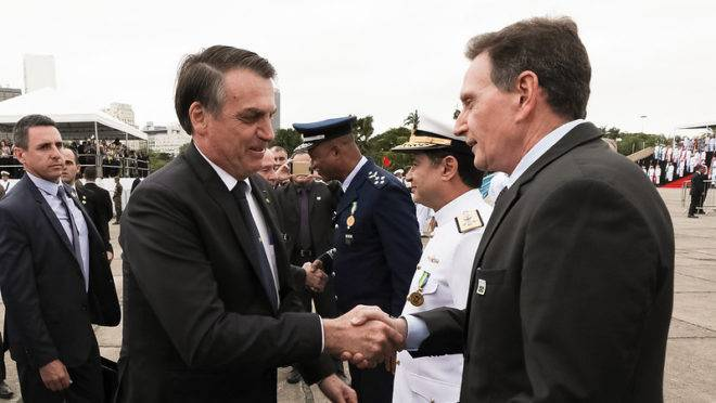 O presidente da República, Jair Bolsonaro,  com o Prefeito do Rio de Janeiro, Marcelo Crivella