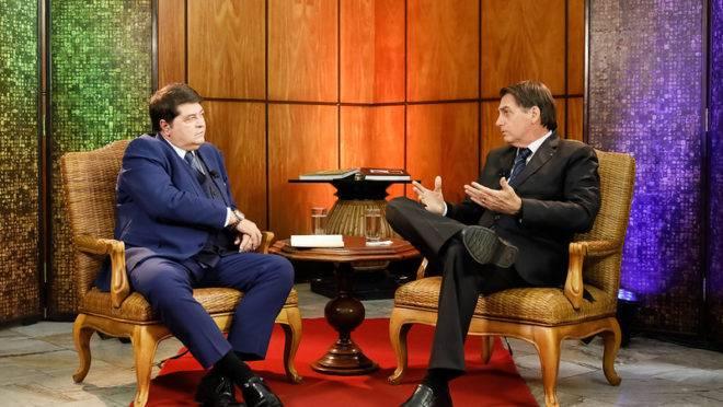 Presidente da República, Jair Bolsonaro durante entrevista com José Luiz Datena.