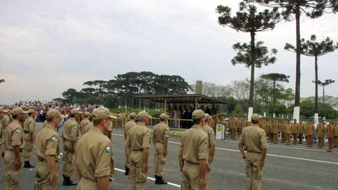 Formatura de policiais militares do Paraná.