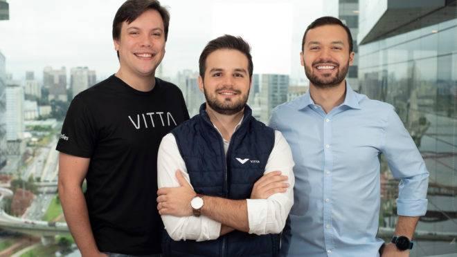 João Gabriel Alkmim (CEO), Márcio Dantas (CTO) e Tiago Barros (diretor comercial) da Healthtech Vitta.