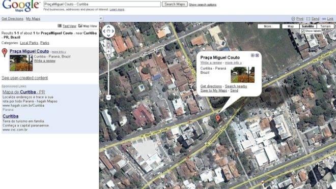 Imagem do Google Maps, com a Pracinha do Batel em destaque: mudança viária que causou tanta polêmica na cidade não aparece nos mapas on line | Divulgação