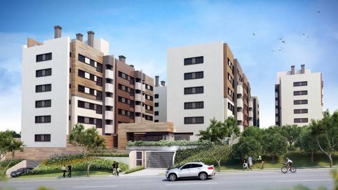 São cinco opções de plantas, entre as quais estão os apartamentos de 56 m² e de 71 m². | Divulgação