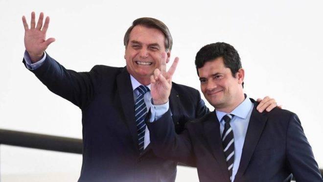 Presidente Bolsonaro e o ministro Sergio Moro