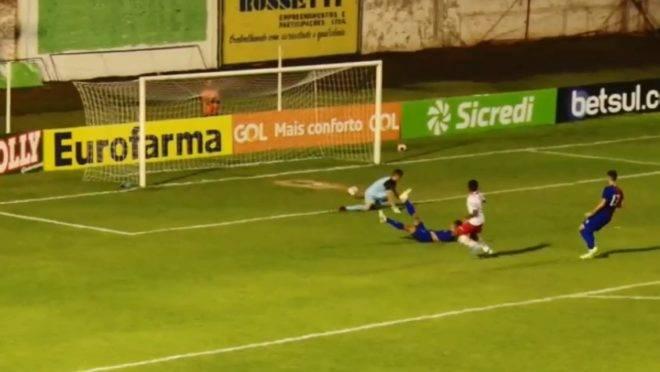 Detalhe do gol do Red Bull contra o Paraná na segunda rodada da Copinha 2020.