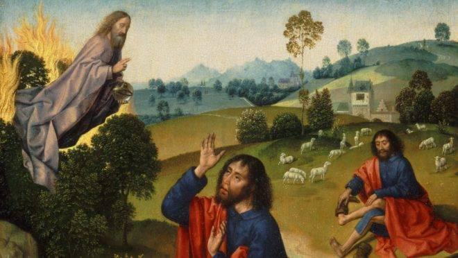 """Detalhe de """"Moisés e a Sarça Ardente"""", de Dierick Bouts o Velho."""